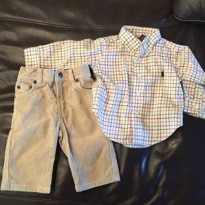 Ralph Lauren polo shirt & corduroy pants size 9m